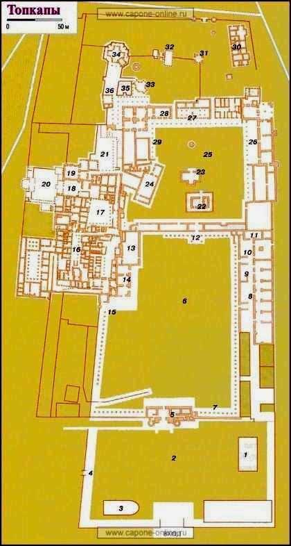 Схема-план дворца Топкапы