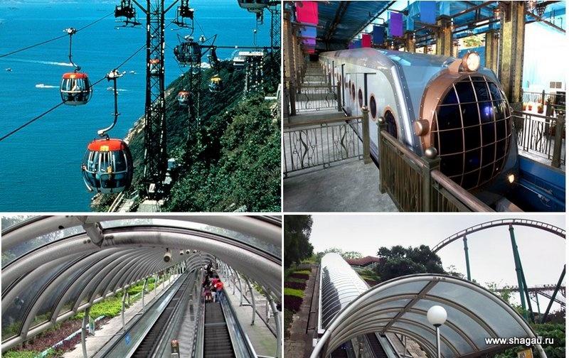 Канатка, поезд и эскалатор
