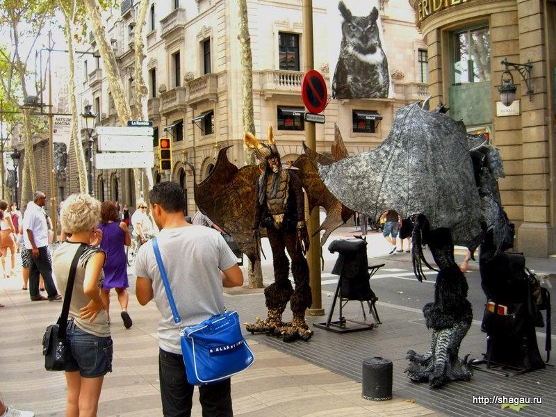 Живые скульптуры на Рамбла, Барселона
