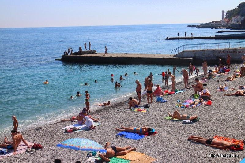 Крым. Пляжи в поселке  Гаспра