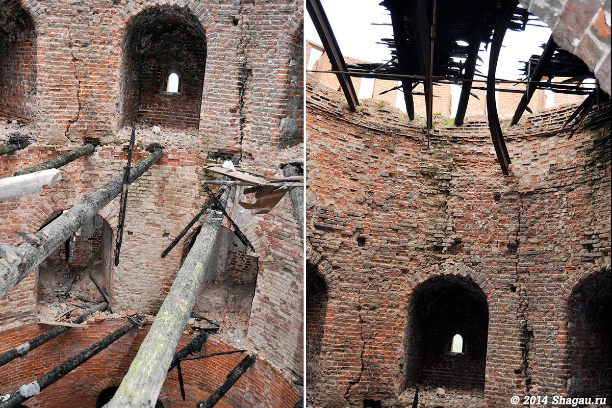 Внутри сгоревшей башни