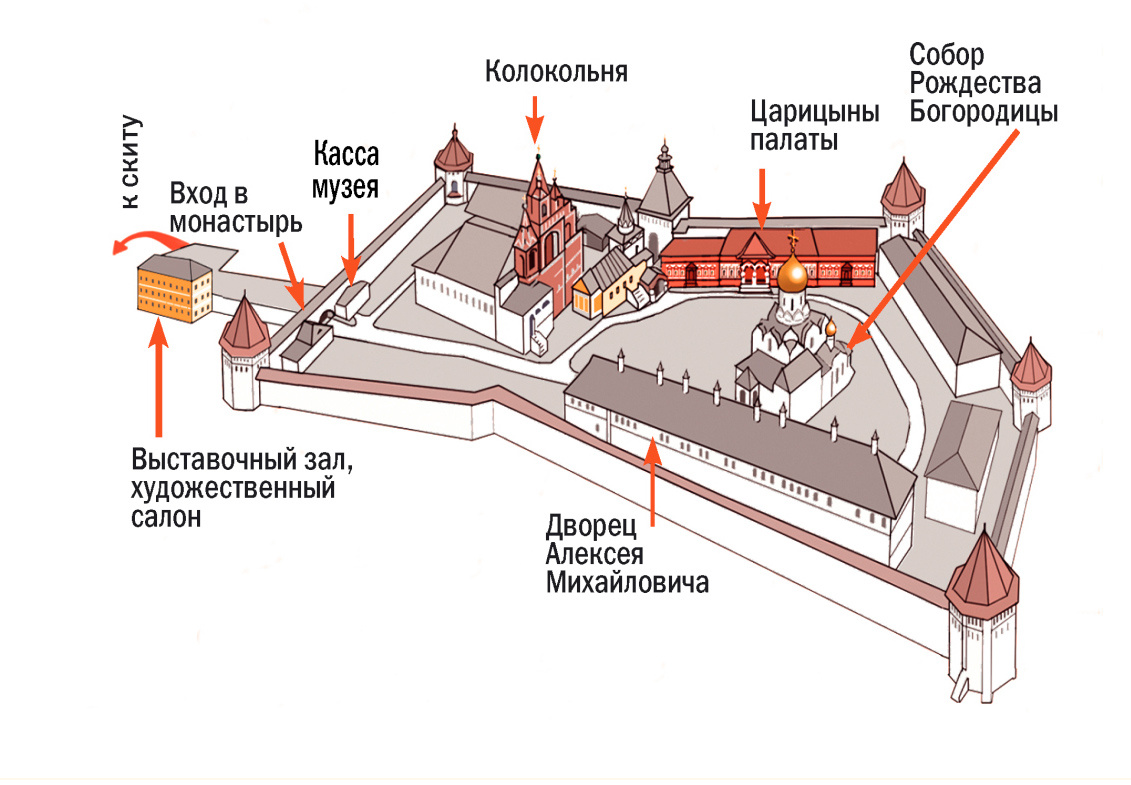 Схема монастыря. Источник http://zvenmuseum.ru/