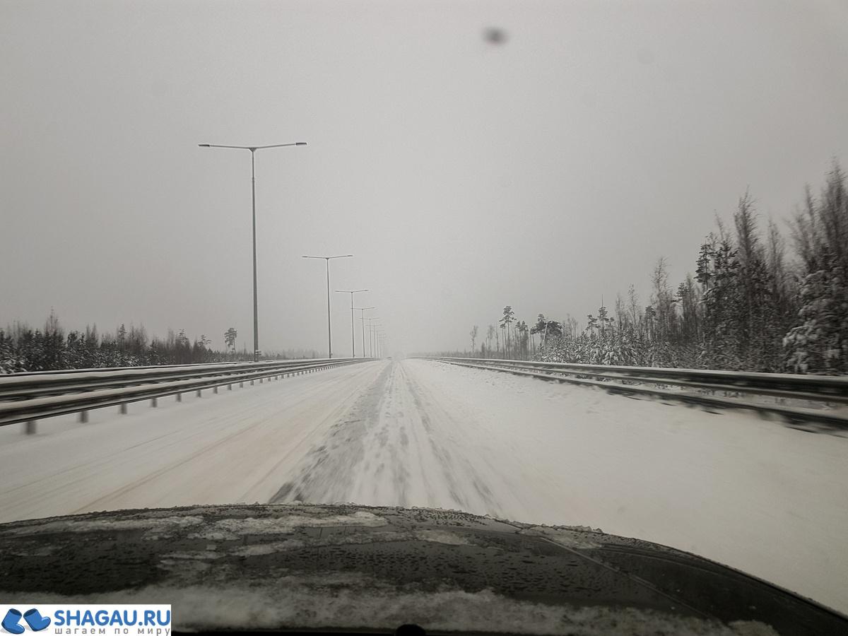 М11 в снегопад